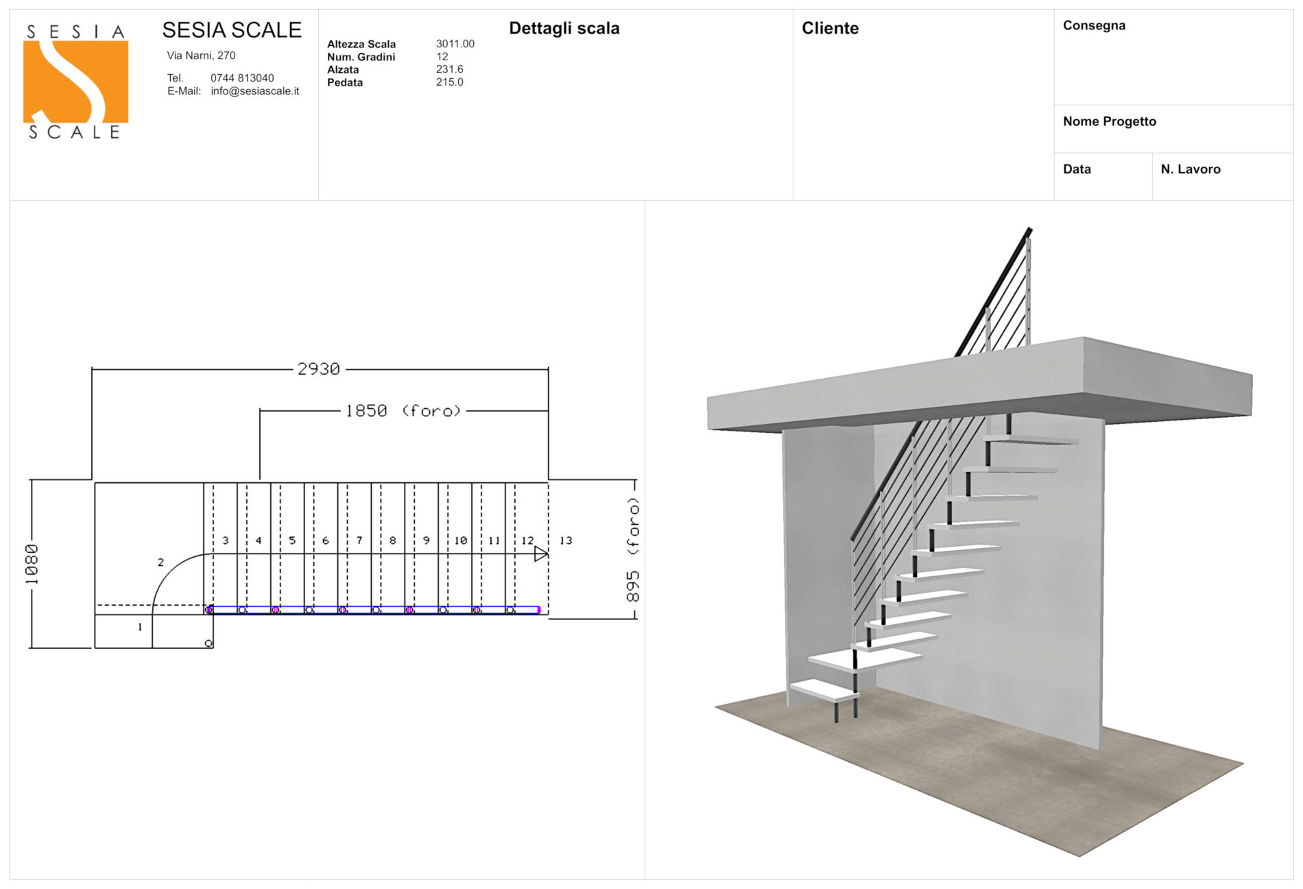 Altezza Gradini Scala customized indoor stairs: sesia scale, terni, rome and